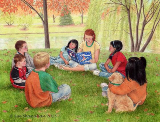 Reading By Lake
