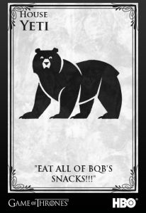 I know.  It's a bear.  It was the only large dumb furry animal the HBO GOT sigil creator had.  The Yeti has complained vigorously.